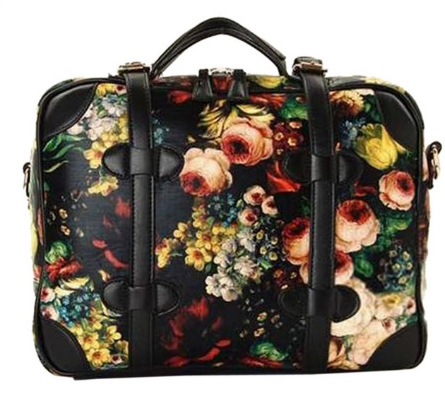 Floral Faux Leather Handbag