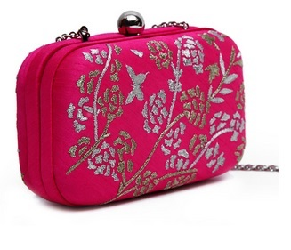 Kunst Pink Dupion Silk Embroidered Box Clutch