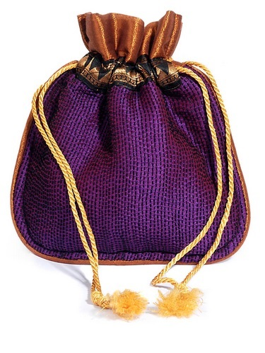 Naksha Purple Cotton Silk Potli Bag With Kantha