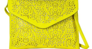 Neon-Yellow Laser Cut Envelope Clutch