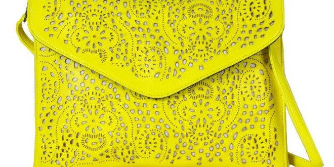 Neon-Yellow Laser Cut Envelope Clutch
