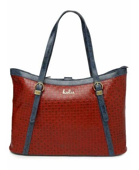 Holii Red Navy Leather Shoulder Handbag Bagslounge Myntra
