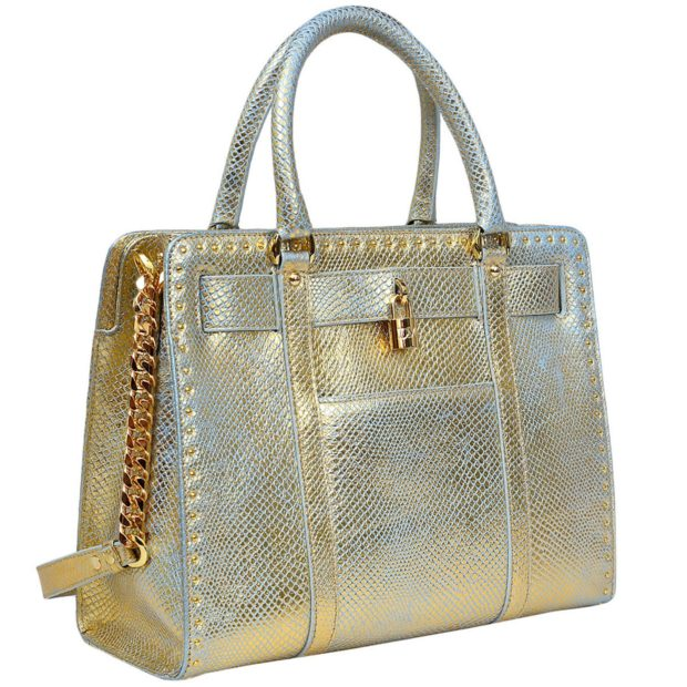 Da Milano Gold Snake Handbag