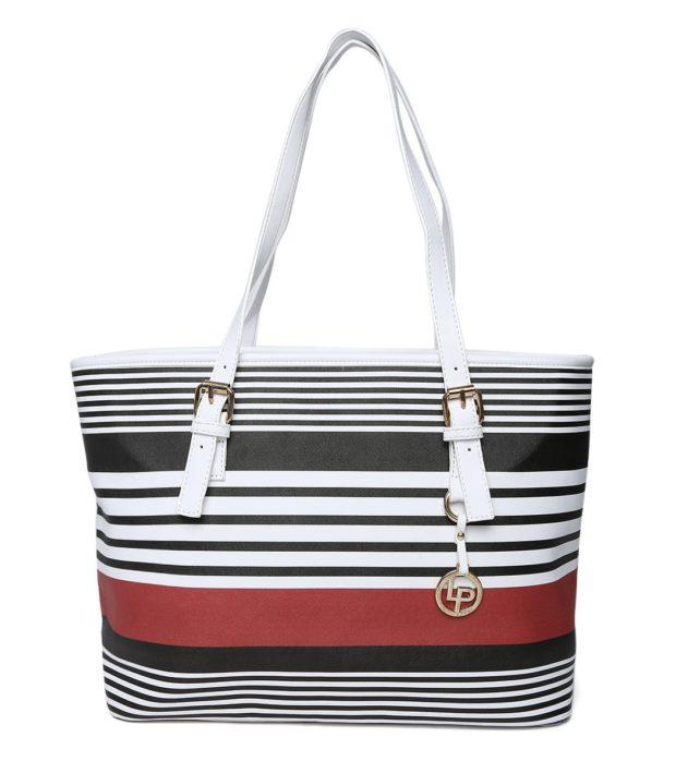 Myntra Lino Perros White Striped Shoulder Bag