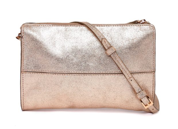 Accessorize Gold Toned Textured Leather Sling Bag