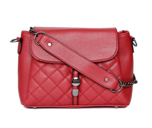 DressBerry Maroon Quilted Shoulder Bag
