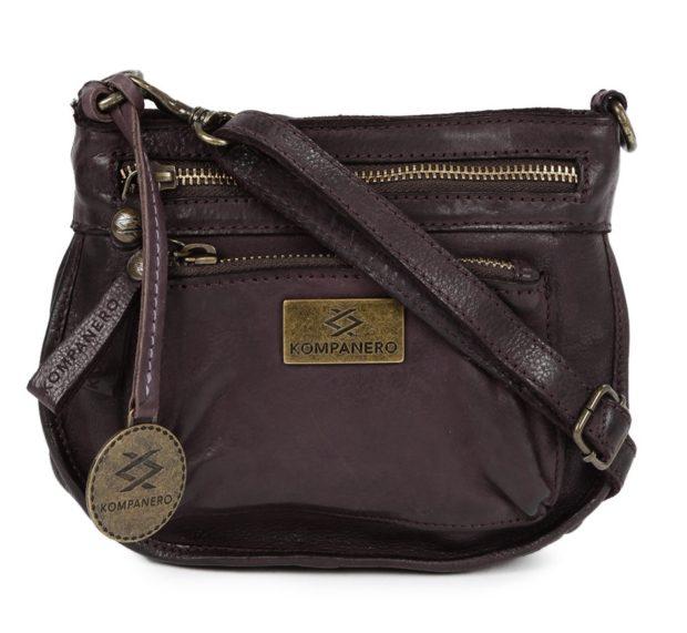 KOMPANERO Purple Leather Textured Sling Bag