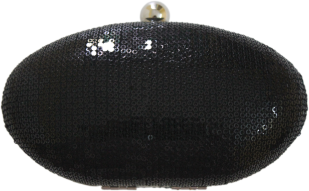 Black Sequins Box Clutch
