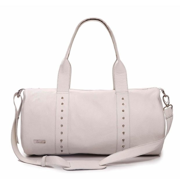 Syuuta White Studded Duffle Bag